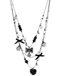 Betsey Johnson Blackplated Crystal Heart and Bow Charm Illusion Necklace - Lyst