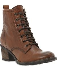 Dune Peetons Leather Laceup Boots Tanleather - Lyst