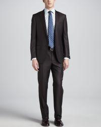 Ermenegildo Zegna Pinstripeherringbone Suit Browngray - Lyst