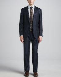 Ermenegildo Zegna Bold Pinstripe Suit Navy - Lyst