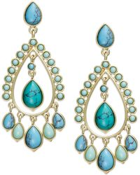 Lauren by Ralph Lauren - 14k Goldtone Reconstituted Turquoise Chandelier Earrings - Lyst