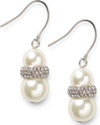 Lauren by Ralph Lauren - Silver-Tone Double Glass Pearl And Pave Crystal Drop Earrings - Lyst