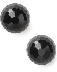 Lauren by Ralph Lauren - Silvertone Faceted Jet Stud Earrings - Lyst