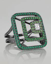 Mimi So - Piece 18k Oxidized Gold Tsavorite Pyramid Ring - Lyst