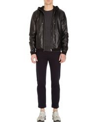 Basco - Hooded Leather Jacket - Lyst