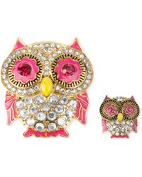 Betsey Johnson Gold-Tone Crystal And Enamel Pin Set - Lyst