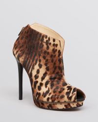 Kenneth Cole Peep Toe Platform Booties Test Time Leopard Print - Lyst
