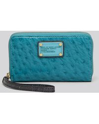 Marc By Marc Jacobs New Q Denim-Style Studded Suede Zip Continental Wallet - Lyst