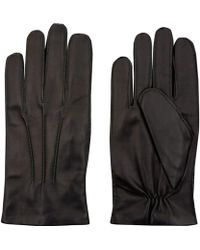 Simon Carter - Dark Green Contrast Stitch Leather Gloves - Lyst