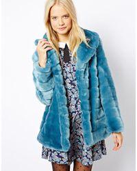 ASOS - Faux Fur Pelted Coat - Lyst