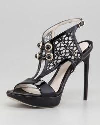 Jason Wu Anklewrap Lacefront Platform Sandal Black - Lyst