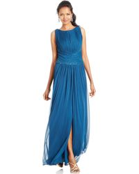 JS Boutique Sleeveless Pleated Bead Gown - Lyst