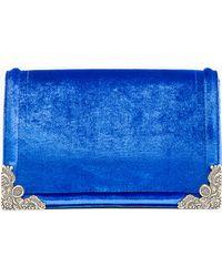 McQ by Alexander McQueen Royal Blue Velvet Box Clutch - Lyst