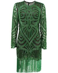 Naeem Khan Long Sleeve Swirl Bead Dress - Lyst