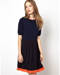 NW3 by Hobbs | Jersey Skater Dress with Contrast Trim and Woven Top | Lyst