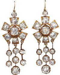 Olivia Collings - Rock Crystal Chandelier Drop Earrings - Lyst