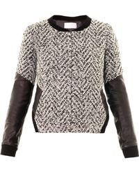 Thakoon Addition - Leather Sleeve Boucle Jacket - Lyst