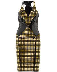 Versace Lurex Tartan and Leather Dress - Lyst