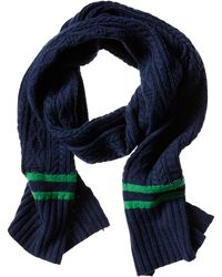 Banana Republic Marled Stripe Cable Knit Scarf Navy - Lyst