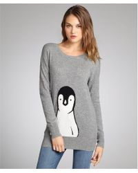 C3 Collection Grey Penguin Intarsia Cashmere Sweater - Lyst