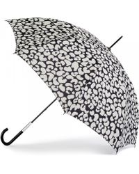 Lulu Guinness Wild Cat Eliza Leopard Print Umbrella black - Lyst