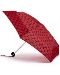 Lulu Guinness Lips Grid Tiny Umbrella red - Lyst