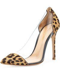 Gianvito Rossi Leopard-Print Calf Hair-Pvc Pump - Lyst
