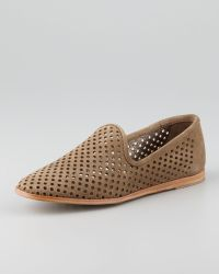 Pedro Garcia Yasmin Perforated Suede Loafer Taupe - Lyst