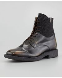 7 For All Mankind Sanford Camoleather Boot Black - Lyst