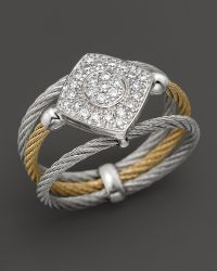 Charriol | Classique Collection 18k White Gold And Stainless Steel Nautical Cable Diamond Ring | Lyst