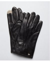 Joseph Abboud - Black Leather and Cashmere Lined Touch Technology Gloves - Lyst