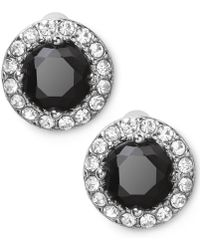 Lauren by Ralph Lauren - Silvertone Round Faceted Jet Glass Stone Stud Earrings - Lyst