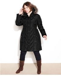 London Fog Hooded Faux Fur Trim Quilted Puffer - Lyst