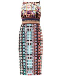 Mary Katrantzou Lanta Roseprint Sheer Panel Dress - Lyst