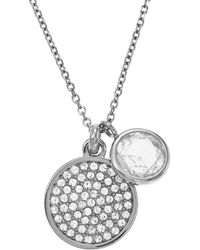 """Michael Kors Pave Disc and Clear Stone Necklace 16"""" - Lyst"""