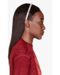 Valentino Dusty Rose Leather Studded Headband - Lyst