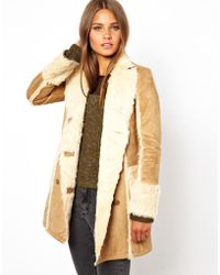 Kenneth jay lane Katie Judith Shearling Coat in Brown | Lyst