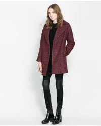 Zara Oversize Double Breasted Coat - Lyst