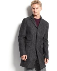 Calvin Klein Pattern Wool Coat - Lyst