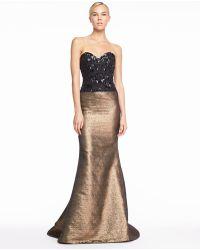 Carolina Herrera Beaded Sweetheart Tweed Gown - Lyst