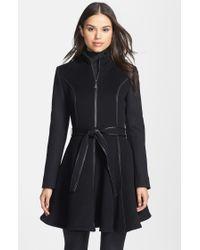 Dawn Levy Fergie Leather Trim Belted Wool Coat - Lyst