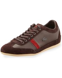 Lacoste Misano Leather Suede Sneaker Brown - Lyst