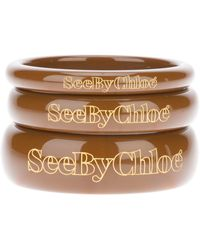 See By Chloé Set Of Logo Bangles - Lyst