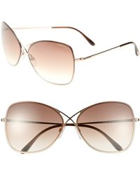 Tom Ford 'Colette' 63Mm Sunglasses - Shiny Rose Gold/ Dark Brown pink - Lyst