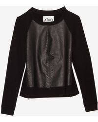 Aiko - Exclusive Front Leather Panel Sweatshirt - Lyst