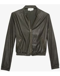 Georgie - Perforated Sleeve Bomber Jacket - Lyst