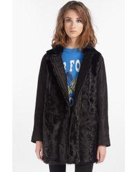 Maje Doa Genuine Goat Fur Leather Coat - Lyst