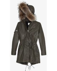 Sam. - Raccoon Fur Collar Hudson Jacket Olive - Lyst