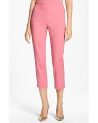 St. John Yellow Label Audrey Double Weave Stretch Cotton Capri Pants - Lyst