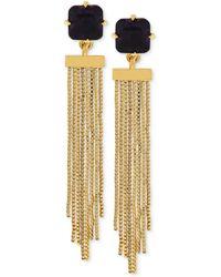 Vince Camuto - Goldtone Black Stone Chain Tassel Earrings - Lyst
